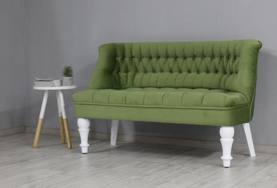 Диван Прованс (велюр зеленый ножки белые)