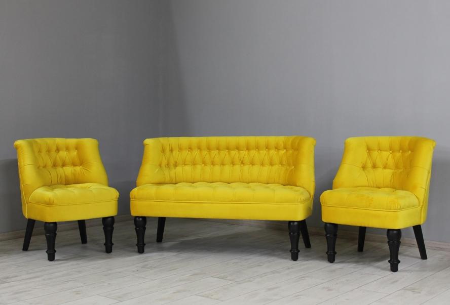 Диван Прованс, велюр желтый, ножки черные