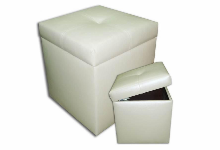 Пуф Еліт з ящиком (екокожа білий)