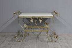 Банкетка Сицилия маленькая (экокожа белая, каркас бежевое золото)