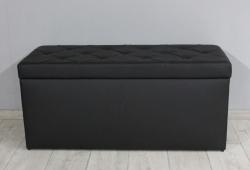 Банкетка Флоренція з ящиком (без ґудзиків, екокожа матова чорний)