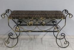 Банкетка кована Сицилія велика (жаккард коричневий вензель каркас чорне золото)