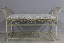 Банкетка кованая Версаль большая (шенилл бежевый вензель каркас бежевое золото)