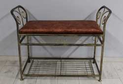 Банкетка кованая Версаль маленькая (велюр  медный мраморный каркас черное золото)