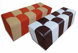 Банкетка Стенди (экокожа, квадрат темно-коричневый с белым)