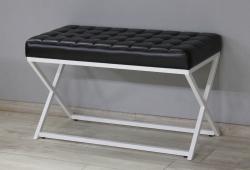 Банкетка в передпокій Модена, екошкіра чорна глянсова, каркас RAL9003