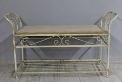 Банкетка кованая Версаль большая (велюр бежевый каркас бежевое золото)