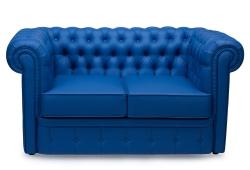 Диван Честер нераскладной (экокожа синий)