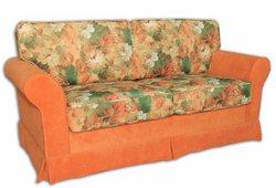 Диван Шанталь (микрофибра оранжевый с цветочным узором)