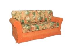 Диван Шанталь раскладной (микрофибра узор цветы и оранжевый низ)