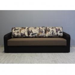 Диван Балтика розкладний, рогожка коричнева, подушки малюнок