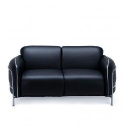 Офисный диван Бергамо, экокожа черная матовая, каркас RAL9022