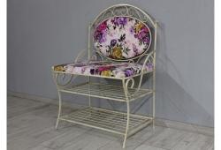 Диван кованый Марсель (велюр фиолетовые цветы каркас бежевое золото)
