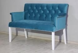 Стильный диван Ришелье, велюр бирюзовый, ножки белые