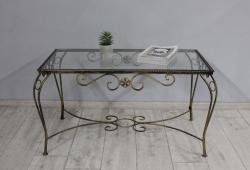 Столик кований Марсель (каркас чорне золото, скло прозоре)