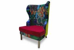 Кресло с ушами Фиеста (велюр с рисунком, бордовое основание и желтая спинка)