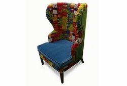 Кресло с ушами Фиеста (велюр с рисунком, синее основание и зеленая спинка)