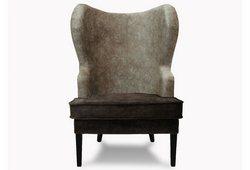 Кресло с ушами Фиеста (велюр темно-коричневый с кофейным)