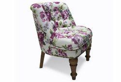 Кресло Прованс (микрофибра белый, цветочный узор)