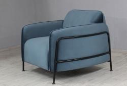 Крісло Бергамо (велюр сталевий синій, метал чорний)