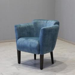 Крісло Мішель, велюр блакитний, ніжки венге