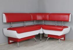Кухонный уголок Милан с ящиками левая сторона (экокожа глянцевая красный с белым)