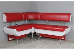 Кухонный уголок Милан с ящиками правая сторона (экокожа глянцевая красный с белым)