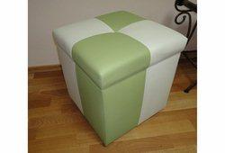Пуф Еліт з ящиком (екокожа квадрат зелений з білим)