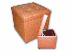 Пуф Магнат с ящиком (экокожа коричневый)