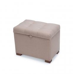 Пуф з ящиком Турин, рогожка пісочний, ніжки горіх