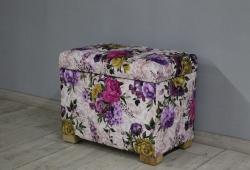Пуфик с ящиком Турин, велюр цветочный рисунок, ножки ясень