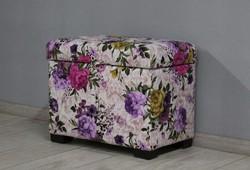 Пуфик с ящиком Турин, велюр цветочный рисунок, ножки венге