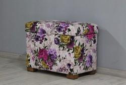 Пуфик с ящиком Турин, велюр цветочный рисунок, ножки орех