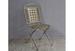 Розкладний стілець, кований, садовий, бежеве золото