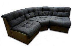 Угловой диван Клуб (серая рогожка и коричневая экокожа)