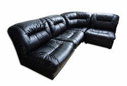 Угловой диван Визит (экокожа черный)