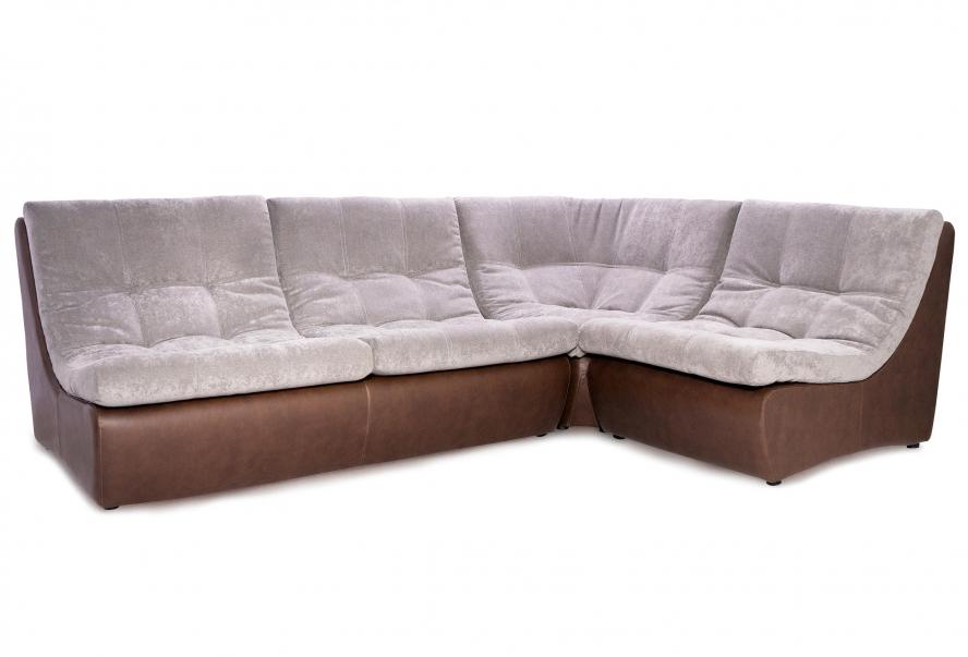 Угловой диван Комфорт (серый велюр и коричневая екокожа)